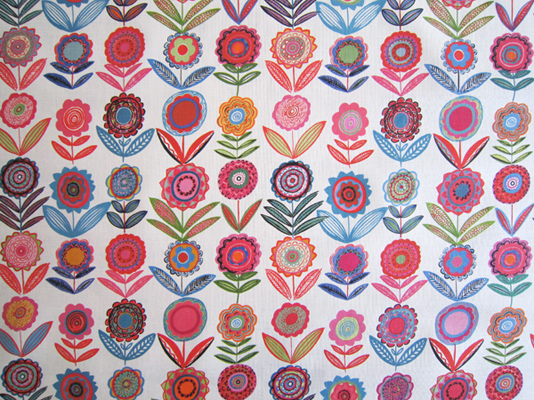 Cut Flowers BL White 68cms Medium Bright Fabric For Curtains And Blinds