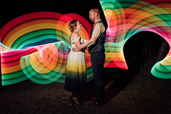 Rainbow lights of groom and bride