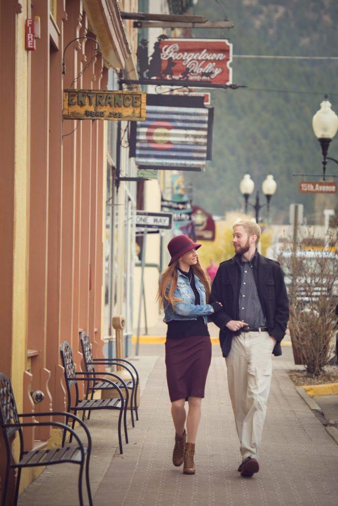 Couple walking in Idaho Spring