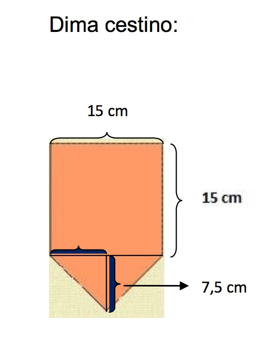 il cartamodello con lato lungo cm 15 e punta da cm. 7,5