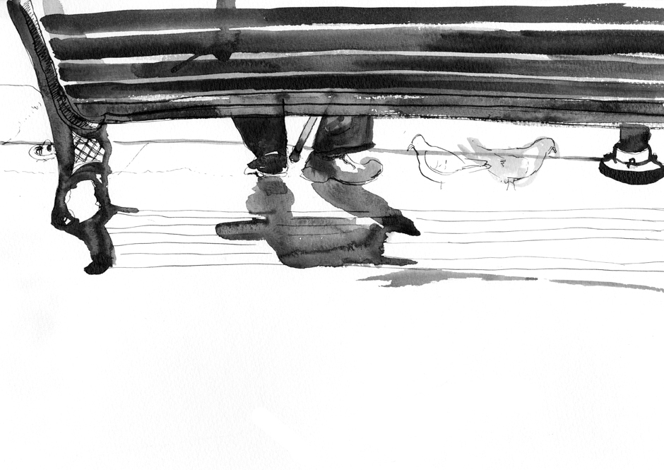 Drawing of a man sitting on a bench and feeding the pigeons