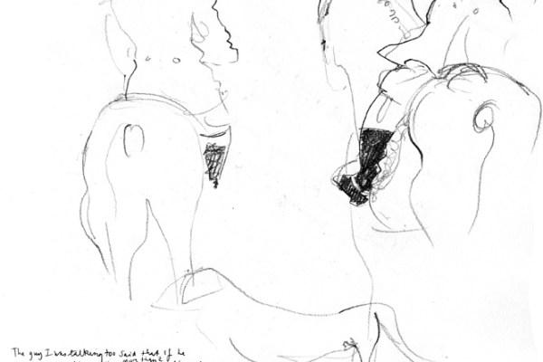 Drawing of huntsmen on their horses.
