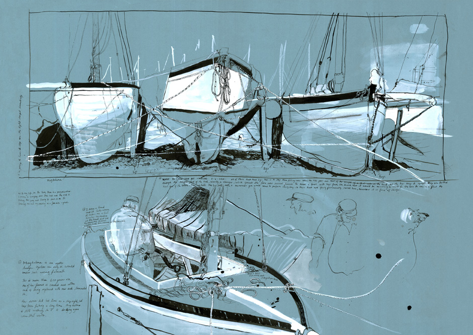Drawing of a row of sailing boats stored on the beach.