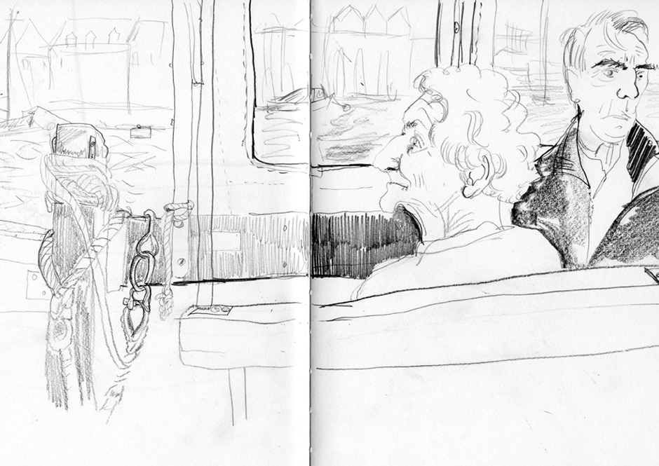 Drawing of passengers on a small ferry.