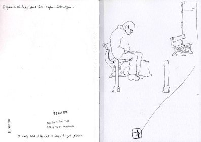 Drawing of a man sitting on a bench on the pier.