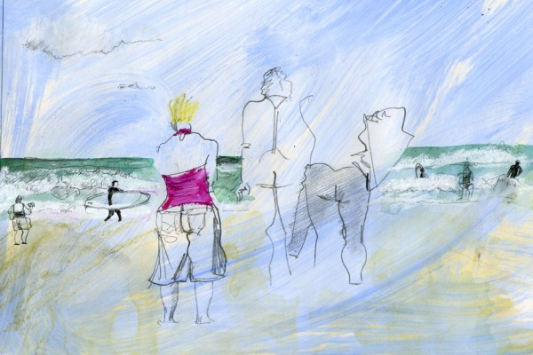 Drawing of a group of surfers looking out to sea.