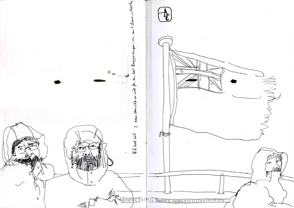 Drawing of the other passengers on the ferry.