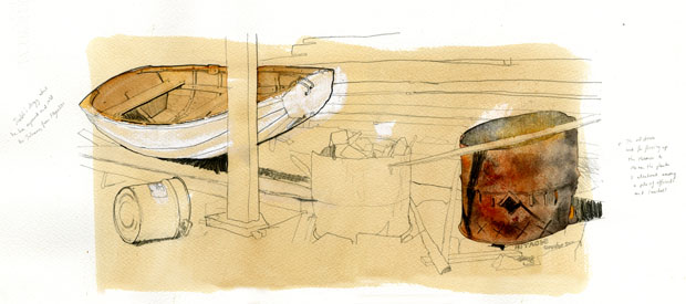 Drawing of a pile of wood off-cuts and a wooden rowing dingy.