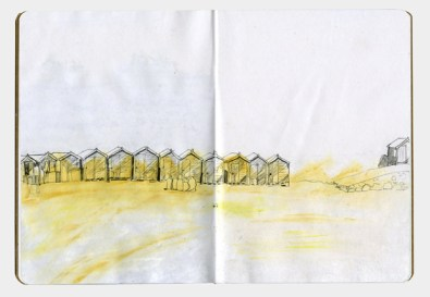 Drawing of beach huts on a beach