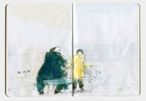 Drawing of a large man and a small women sitting at a picnic table.