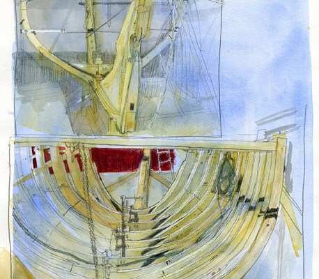 mixed media drawing of the boat frames being fitted to the keel