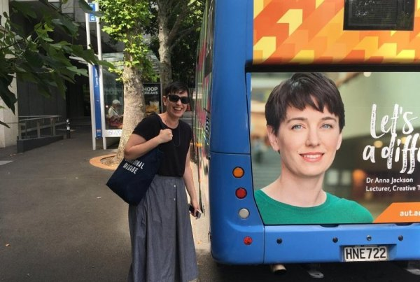 Anna on an AUT bus