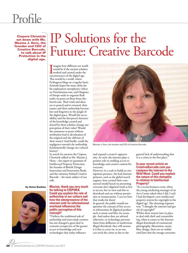 IP Solutions for the future: Interview with Maxine J. Horn, the founder of Creative Barcode