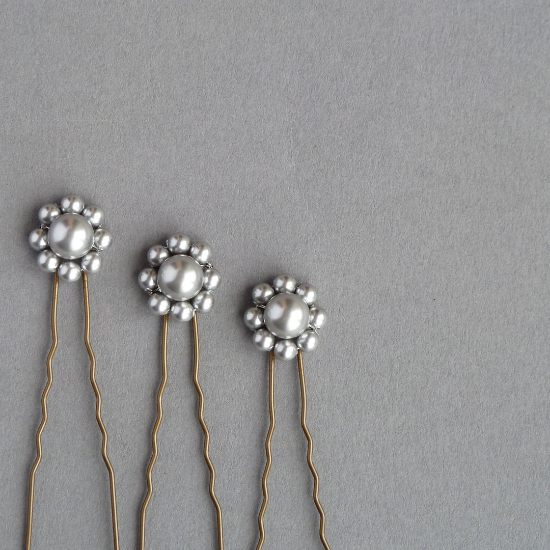 Silver Flower Hair Pins Silver Grey Pearl Flower Hair Pins
