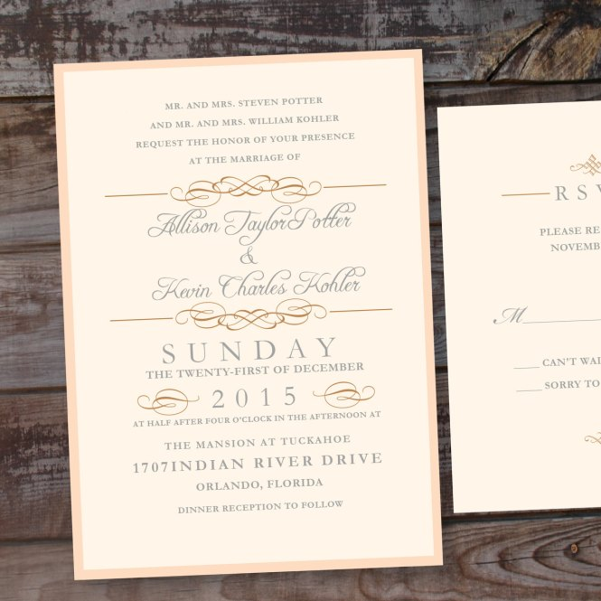Vintage Elegance Wedding Invitations Unique Announcements Formal Elegant Blush Gold By Anna Malie Design In Love Studio
