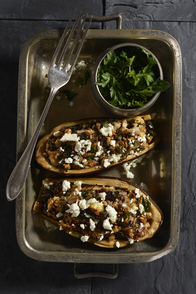Stuffed Aubergines with Fresh Herbs & Olives