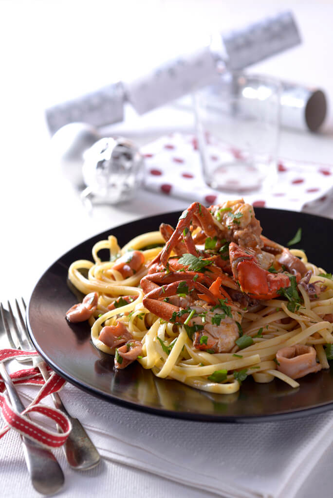 Fettucine tossed in a crab and calamari sauce