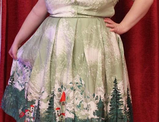 Gilda Green Alpine Print Swing Dress