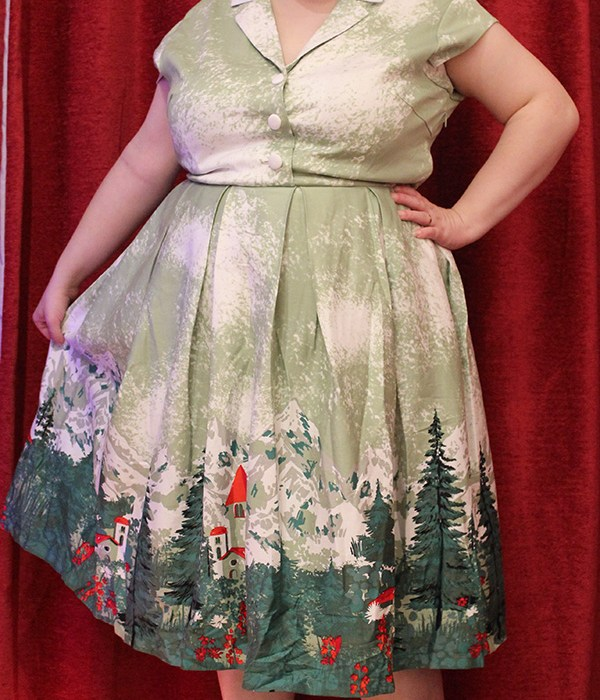 Gilda Green Alpine Print Swing Dress