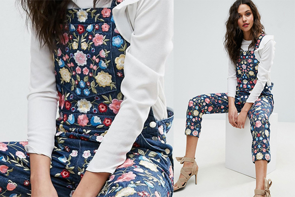 Needle and Thread Floral Embroidery Dungarees