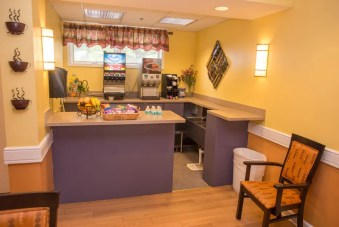 The bistro is always open, with snacks and drinks available 24/7.