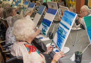 Painting is one of many arts and crafts classes on our calendar.