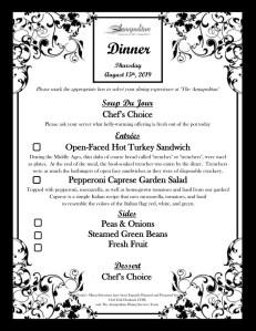 Dinner Menu - 08-15-19
