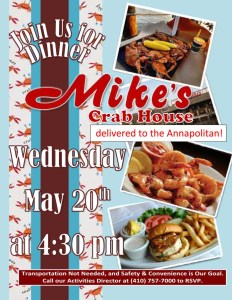 mikes crab house lunch flyer
