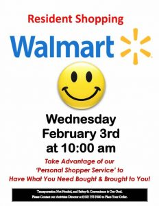 assisted living shopping trip flyer