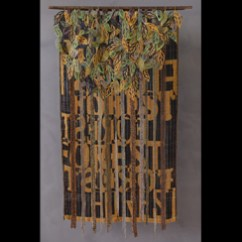 """She Can't See the Forest Through the Trees"" by Jenny Schu Weaving (Double weave pick-up), Beadweaving, Sewing 45.5"" x 27.5"" x 12"" www.jennyschu.com"