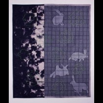"""Rabbits at Dusk"" by Jill Ault Shibori Silk Organza with Embroidery Wall Hanging 36"" x 30"" www.jillault.com"