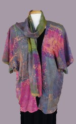 T Voigt dyed screen printed jacket and scarf