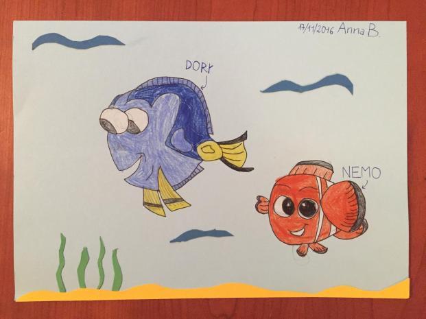 Due pesci famosi Dory e Nemo
