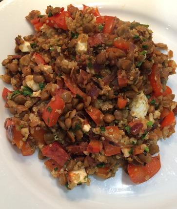 Quinoa, feta and chorizo