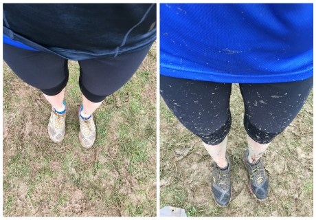 Cross country muddy legs