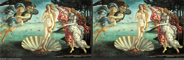 """The Birth of Venus"" Botticelli's original (left) and Anna Utopia's version (right)"