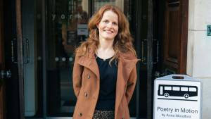 Anna Woodford photographed outside York Explore library