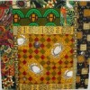 "African Crabs fabric art quilt, 26"" x26"""