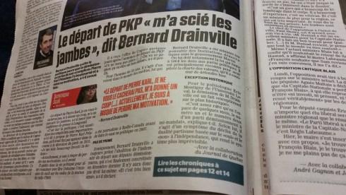 Selon Éric Montigny (Université Laval), le départ de Bernard Drainville serait le «symptôme du déclin de la dualité partisane basée sur le 'oui' et le 'non' à l'indépendance» (Journal de Québec, 15 juin 2016)