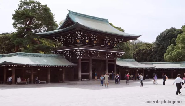 The courtyard in front of the main complex of meiji shrine tokyo