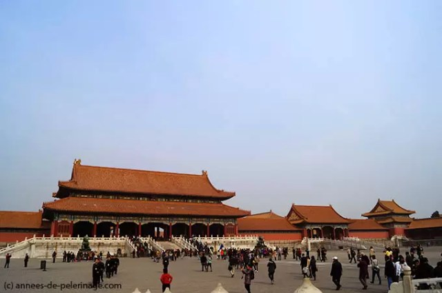 Gate of Supreme Harmony and the courtyard before it in the Forbidden City in Beijing