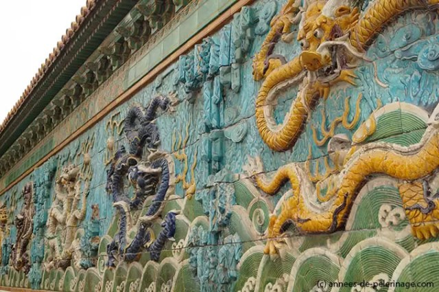 Nine-Dragon Screen at the entrance of the Palace of Tranquil Longevity in the Forbidden City in Beijing