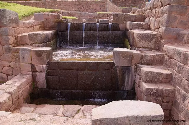 the main water fountain in tipon, right at the back of the inca terraces
