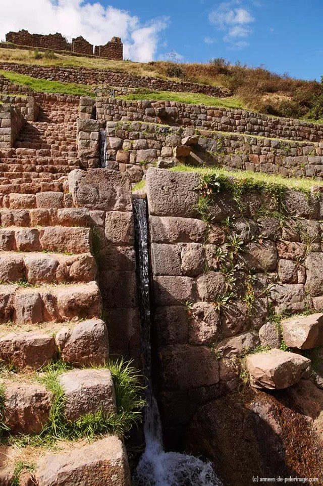 the cascading water channels of the tipon inca terraces