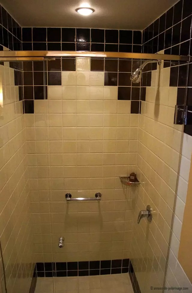 The tiled shower in the bathroom of belmond sanctuary lodge machu picchu