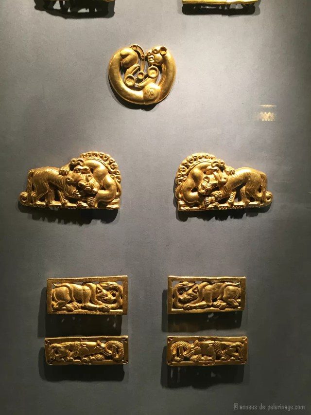Ancient scythian gold on display in the gold room of the hermitage museum