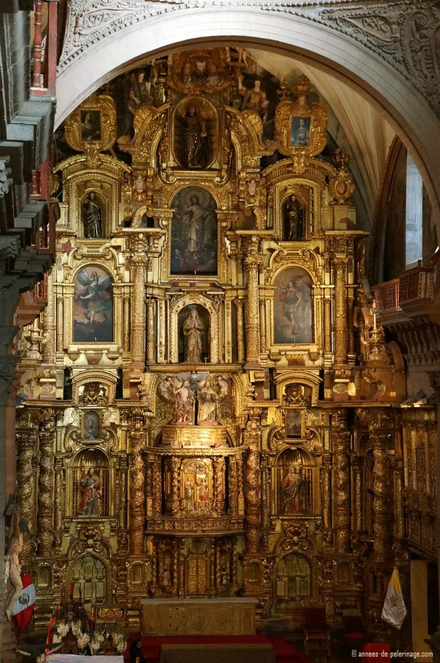 A 30 meter high golden altar inside the Cusco Cathedral