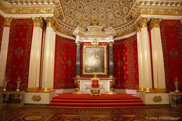 The throne of the stars lined with red velvet and gold in a special throne room in the hermitage