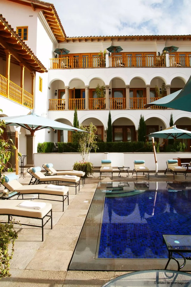 The famous pool at the Belmond Palacio Nazarenas luxury boutique hotel in Cusco