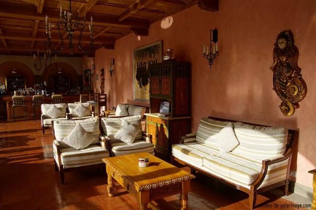 The cozy bar at the Belmond Palacio Nazarenas in Cusco